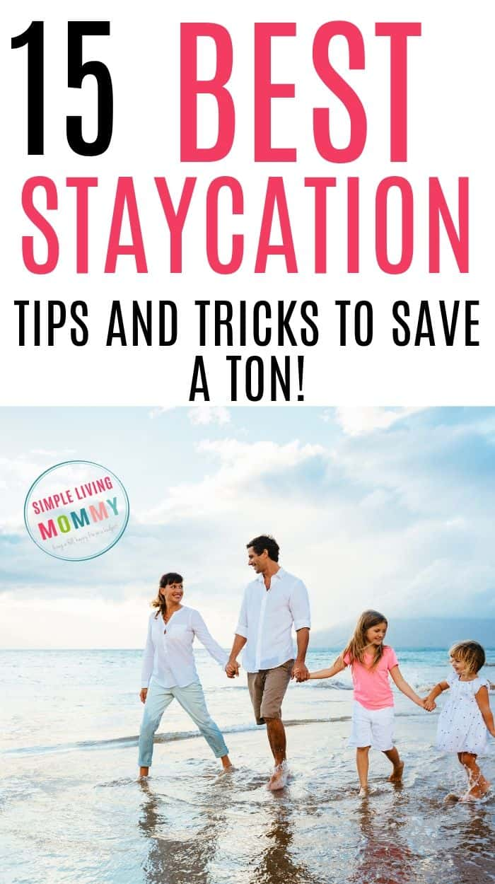 Family walking on a beach thinking of cheap staycation ideas for families