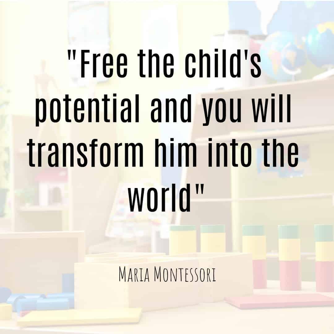 Maria Montessori Quote free the child's potential and you will transform him into the world.