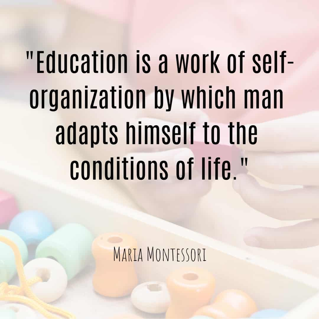 Maria Montessori Quote education is a work of self-organization by which man adapts himself to the conditions of life.