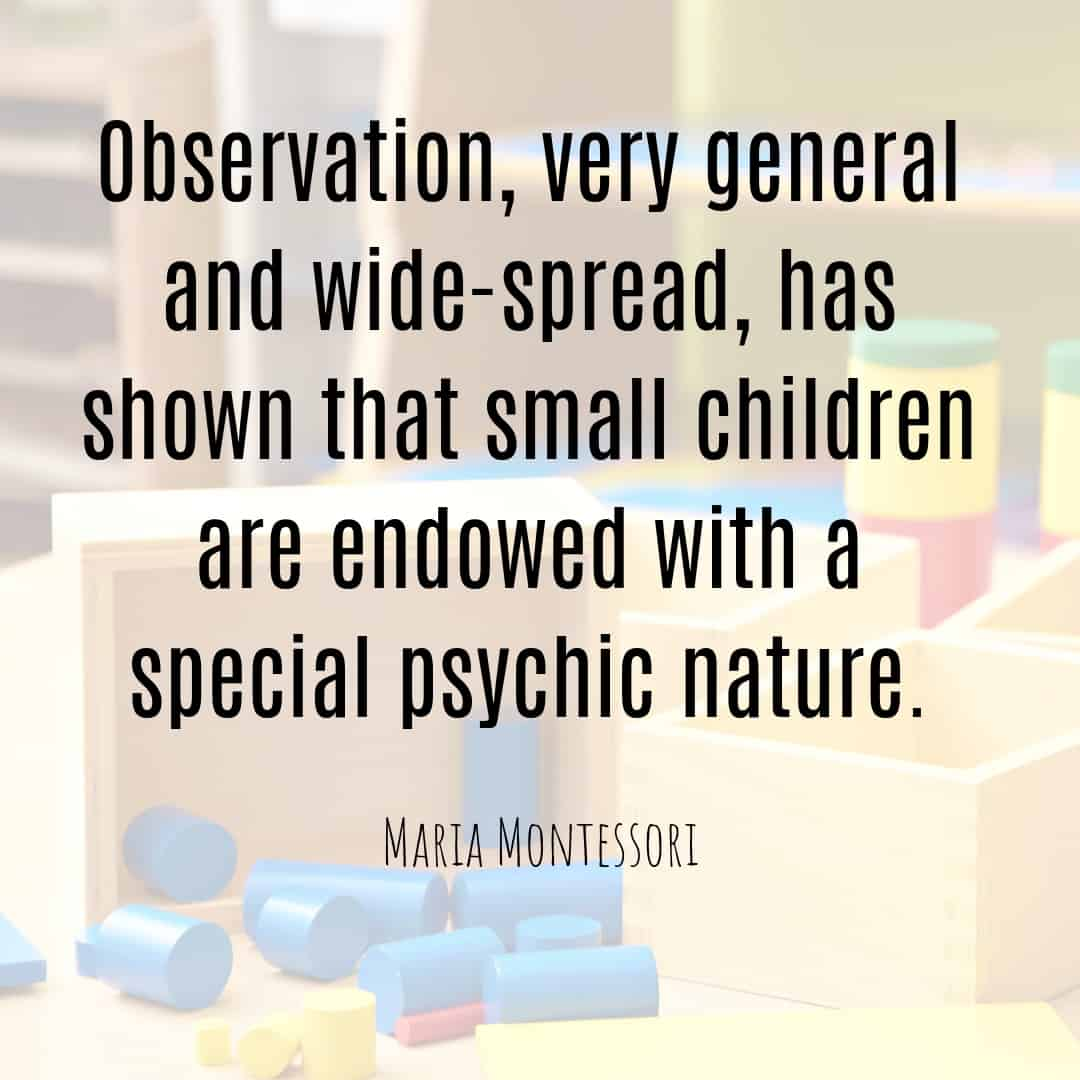 Maria Montessori Quote observation, very general and wide-spread...