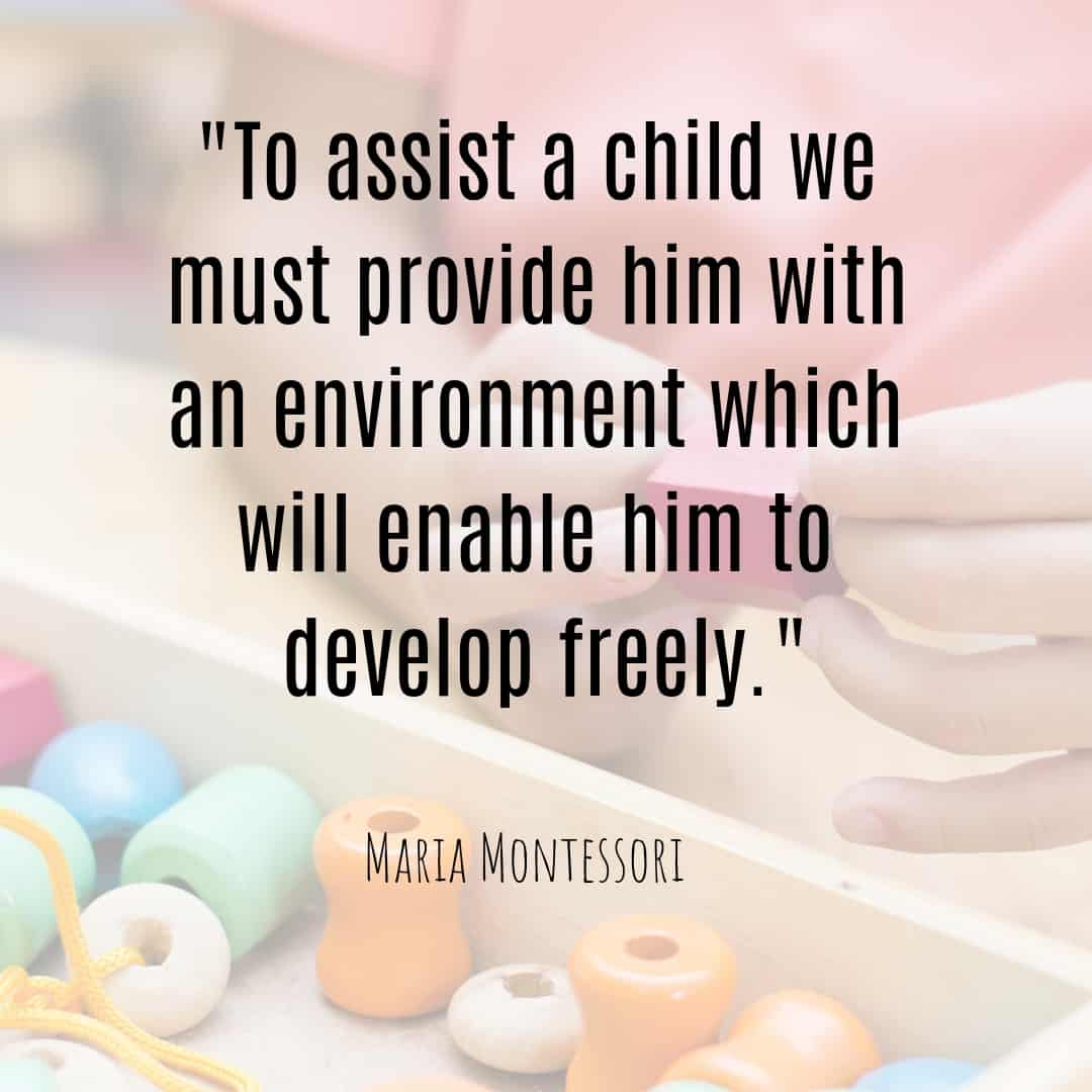 Maria Montessori Quote to assist a child we must provide him with an environment which will enable him to develop freely.