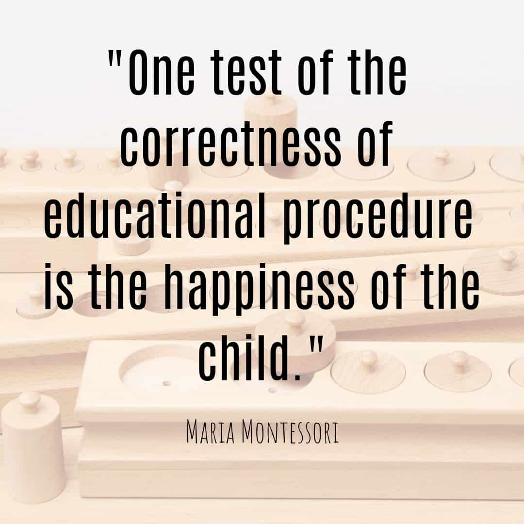 Maria Montessori Quote one test of the correctness of educational procedure is the happiness of the child.