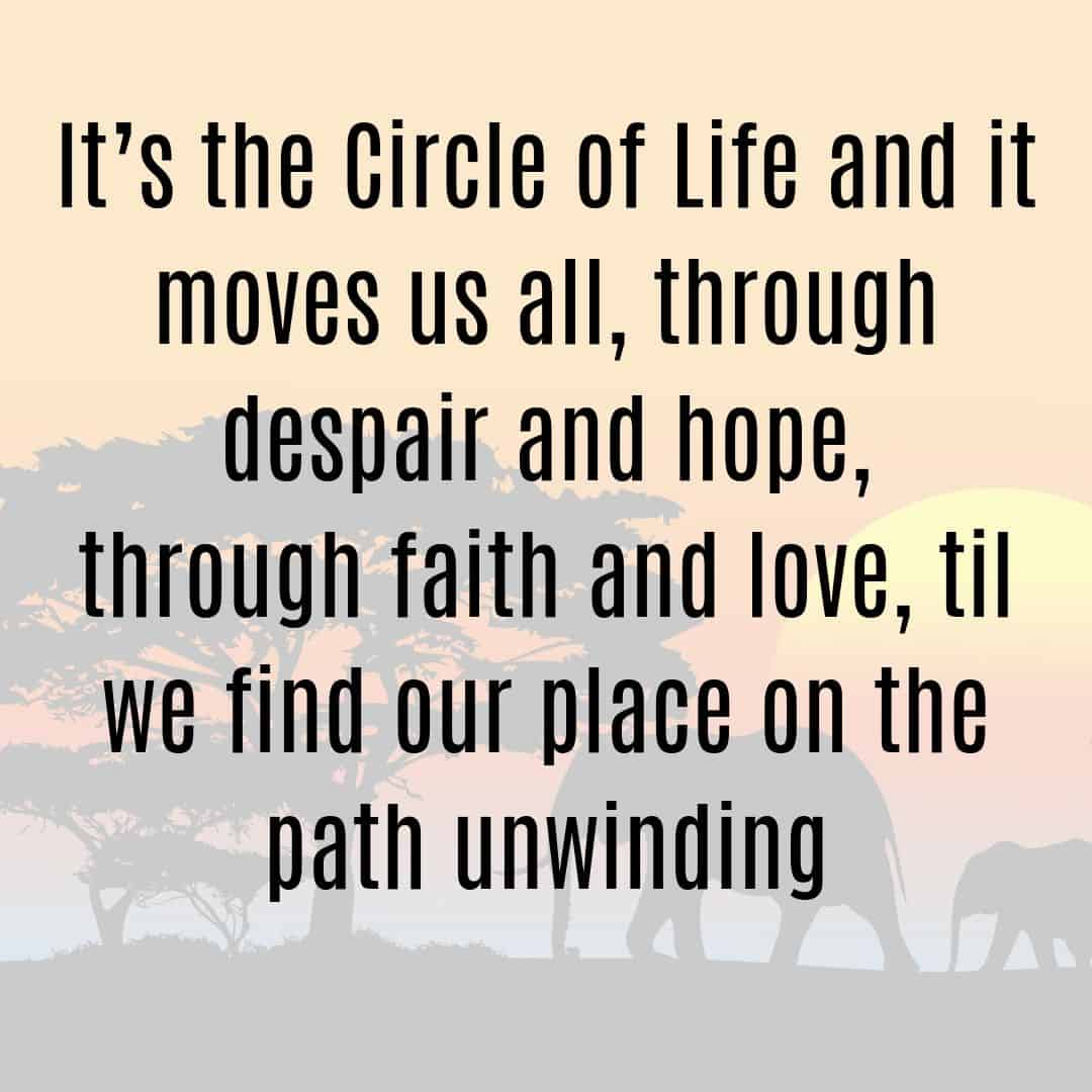 It's the Circle of Life and it moves u all, through despair and hope, through faith and love, til we find our place on the path unwinding