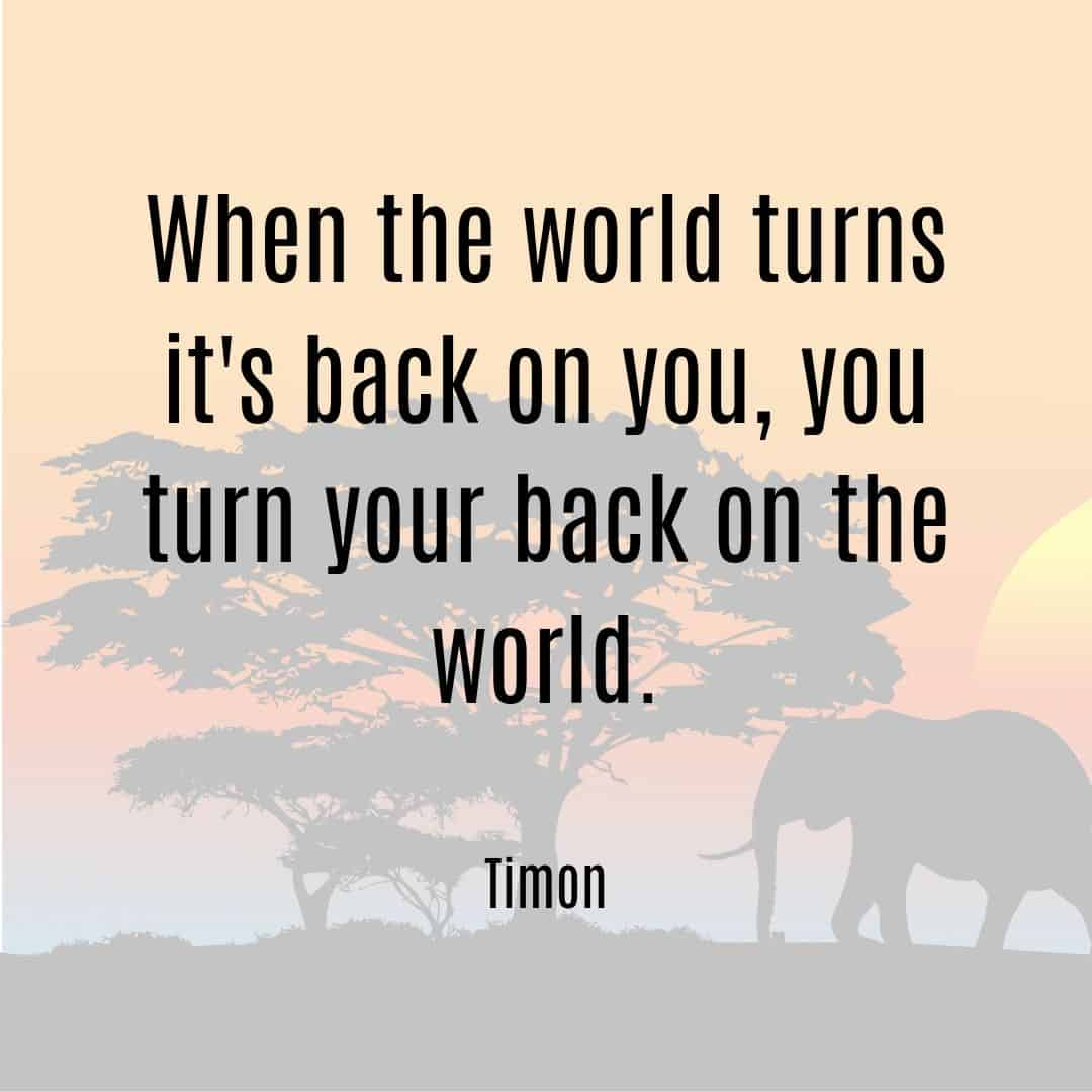 When the world turns its back on you, you turn your back on the world Timon quote from Lion King