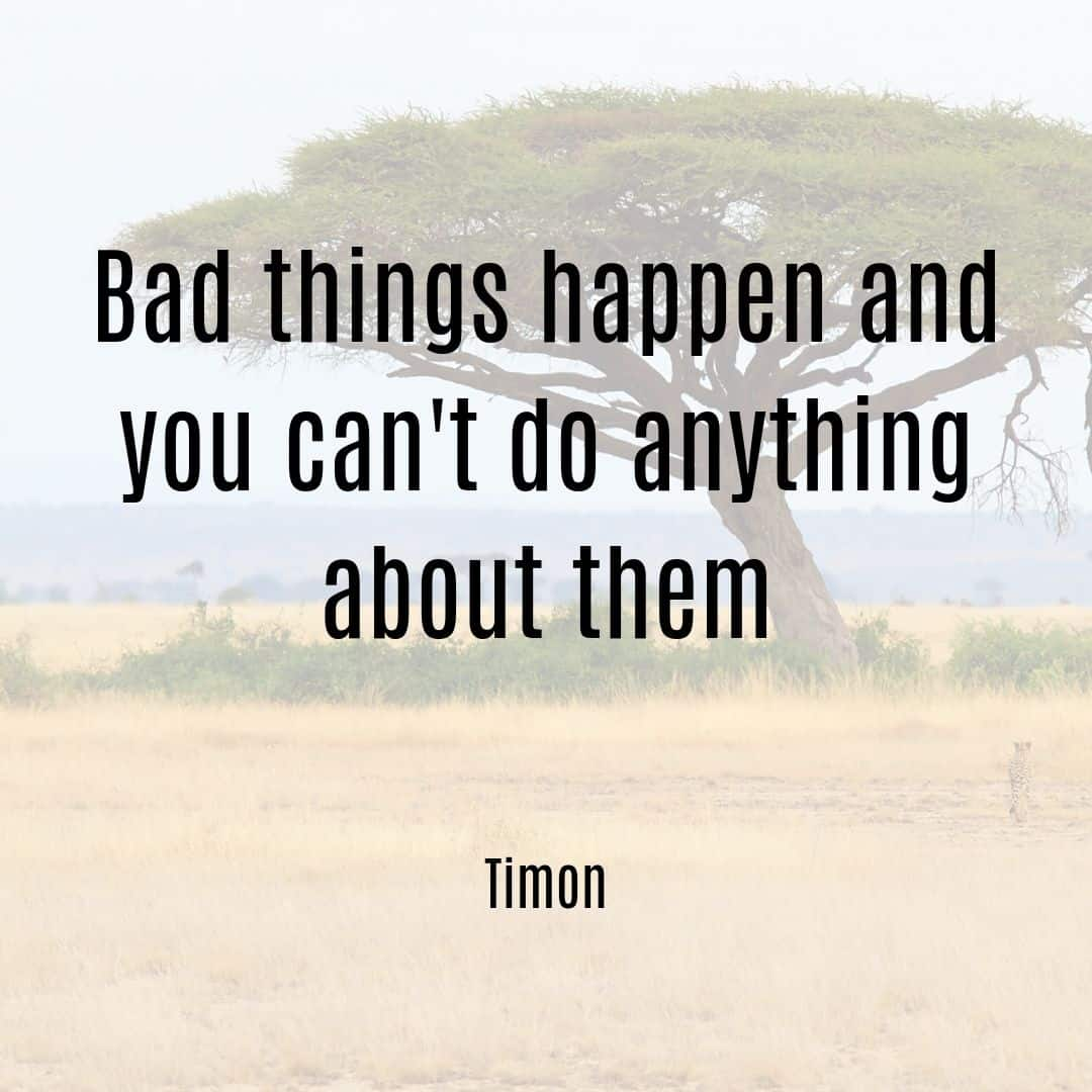 Bad things happen and you can't do anything about them Simon quote from Lion King