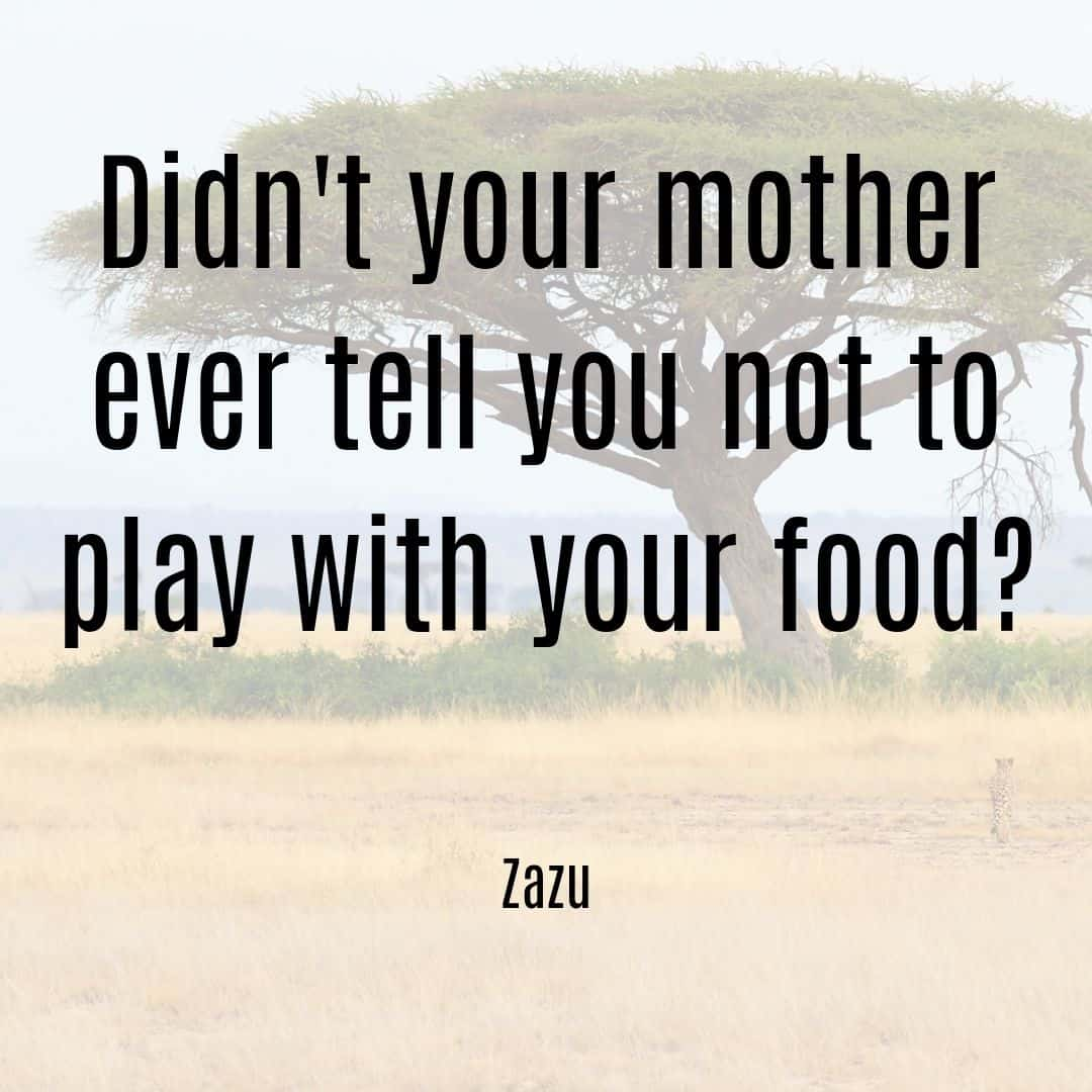 Didn't your mother ever tell you not to play with your food? - Zazu Lion King quote